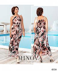 Нежное шелковое летнее платье в пол большого размера. Размер: 46-48, 50-52, 54-56, 58-60, 62-64, 66-68