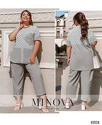 Комфортный летний серый костюм (блуза + брюки) большого размера. Размер: 50-52, 54-56, 58-60, 62-64, 66-68