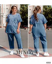Комфортный летний голубой костюм (блуза + брюки) большого размера. Размер: 50-52, 54-56, 58-60, 62-64, 66-68