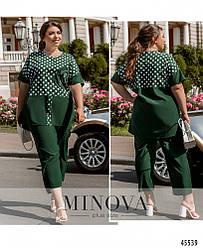 Комфортный летний зеленый костюм (блуза + брюки) большого размера. Размер: 50-52, 54-56, 58-60, 62-64, 66-68