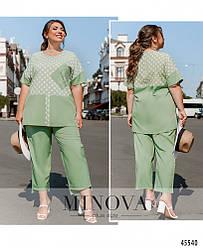 Комфортный летний мятный костюм (блуза + брюки) большого размера. Размер: 50-52, 54-56, 58-60, 62-64, 66-68