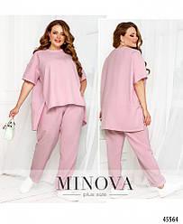 Стильный летний однотонный розовый костюм (блуза+брюки) большого размера. Размер: 50-52, 54-56, 58-60, 62-64