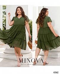 Легкое свободное летнее шифоновое платье цвета хаки большого размера. Размер: 50, 52, 54, 56, 58, 60