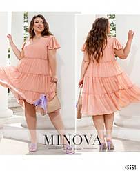 Легкое свободное летнее шифоновое пудровое платье большого размера. Размер: 50, 52, 54, 56, 58, 60