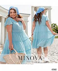 Легкое свободное летнее шифоновое голубое платье большого размера. Размер: 50, 52, 54, 56, 58, 60