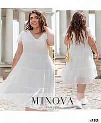 Легкое свободное летнее шифоновое молочное платье большого размера. Размер: 50, 52, 54, 56, 58, 60