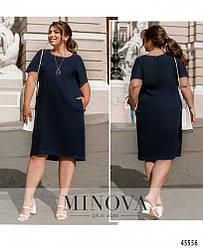 Однотонное летнее льняное синее платье прямого кроя большого размера. Размер: 50, 52, 54, 56