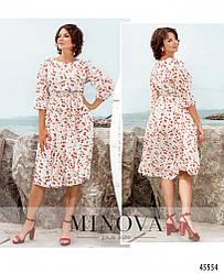 Элегантное женственное молочное платье в цветочек большого размера. Размер: 48, 50, 52, 54