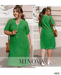 Стильное лёгкое льняное зеленое платье большого размера. Размер: 50-52, 54-56, 58-60, 62-64