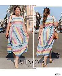 Женственное льняное приталенное длинное летнее платье большого размера. Размер: 50-52, 54-56, 58-60, 62-64