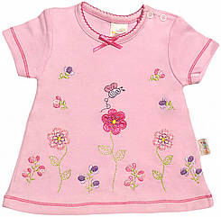 Дитяча футболка на дівчинку ріст 68 3-6 міс для новонароджених малюків красива ошатна трикотажна рожева