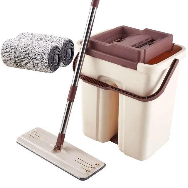 Швабра з віджимом і відром Scratch Cleaning Mop бежево-коричнева, плоска швабра для миття підлоги