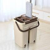 Швабра з віджимом і відром Scratch Cleaning Mop бежево-коричнева, плоска швабра для миття підлоги, фото 3