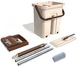 Швабра з віджимом і відром Scratch Cleaning Mop бежево-коричнева, плоска швабра для миття підлоги, фото 4