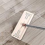 Швабра з віджимом і відром Scratch Cleaning Mop бежево-коричнева, плоска швабра для миття підлоги, фото 5