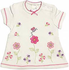 Дитяча футболка на дівчинку ріст 68 3-6 міс для новонароджених малюків красива ошатна трикотажна біла
