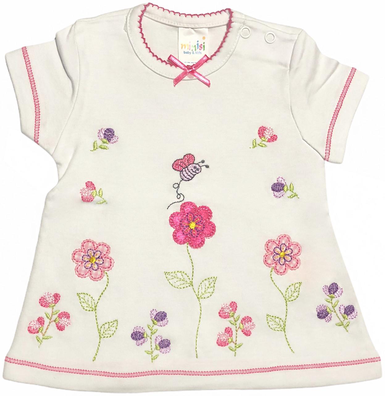 Дитяча футболка на дівчинку ріст 74 6-9 міс для новонароджених малюків красива ошатна трикотажна біла