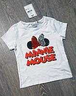 Красивая футболка Next Minnie для девочкиc пайетками 4/5 лет