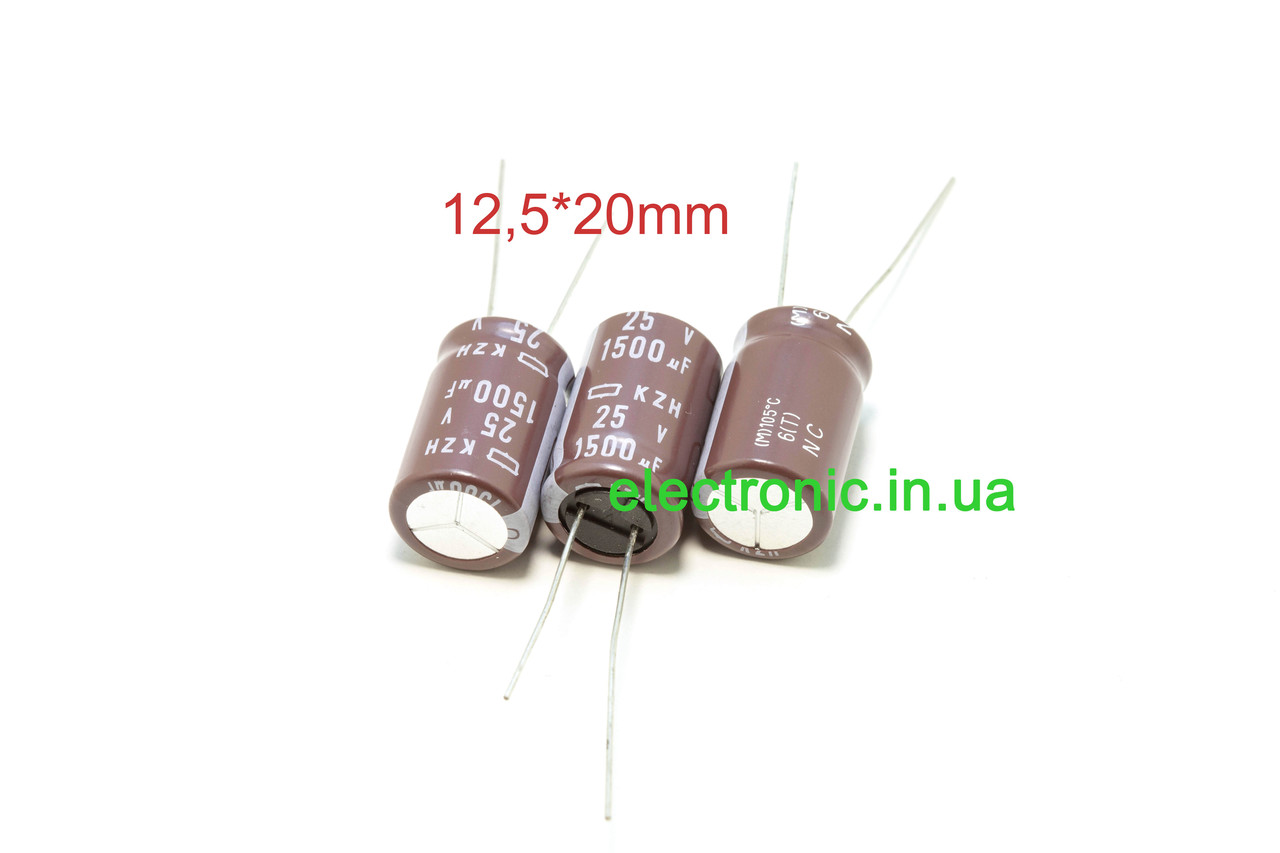 NCC KZH series 1500 мкФ 25 12,5*20 мм