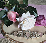 Срібний браслет манжет з натуральним рожевим кварцом, фото 1