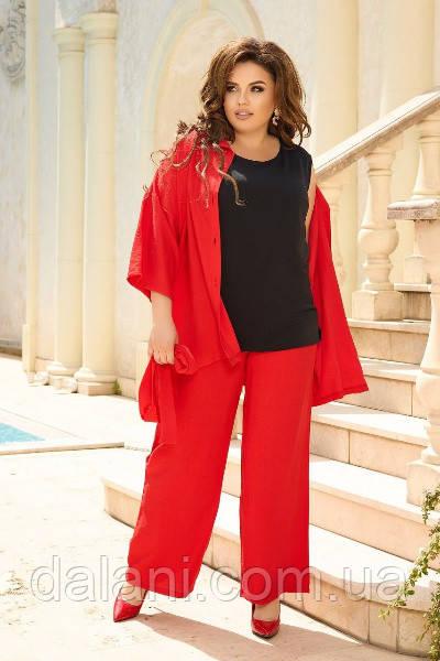 Жіночий червоний костюм-трійка з майкою, сорочкою і брюками-палаццо