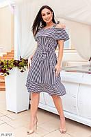 Платье женское летнее в полоску по колено на бретелях с воланами большие размеры 50-56 арт 2094