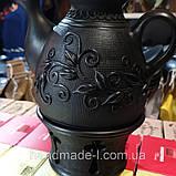 Глиняний Чайник з ситком та підігрівом ручної роботи 1л, фото 3
