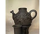 Глиняний Чайник з ситком та підігрівом ручної роботи 1л, фото 2