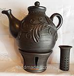 Глиняний Чайник з ситком та підігрівом ручної роботи 1л, фото 4