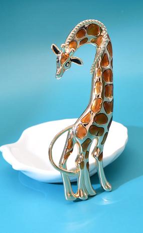 Брошь брошка шикарный огромный 12см жираф кулон подвеска 2 в 1 металл эмаль
