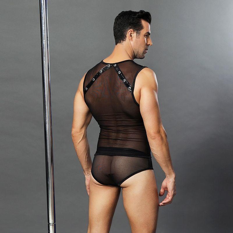 """Чоловічий еротичний костюм """"Романтичний Стівен"""": напівпрозорі трусики і маєчки"""