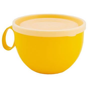 Чашка з кришкою 0,5л. (темно-жовтий/прозорий) (168006) (10)