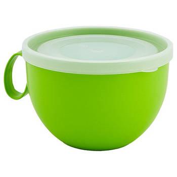 Чашка з кришкою 0,5л. (оливковий/прозорий) (168006) (10)