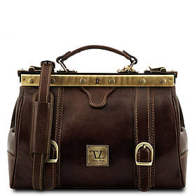 Кожаная сумка-саквояж Tuscany Leather MONA-LISA TL10034 (Dark brown — темно-коричневый)
