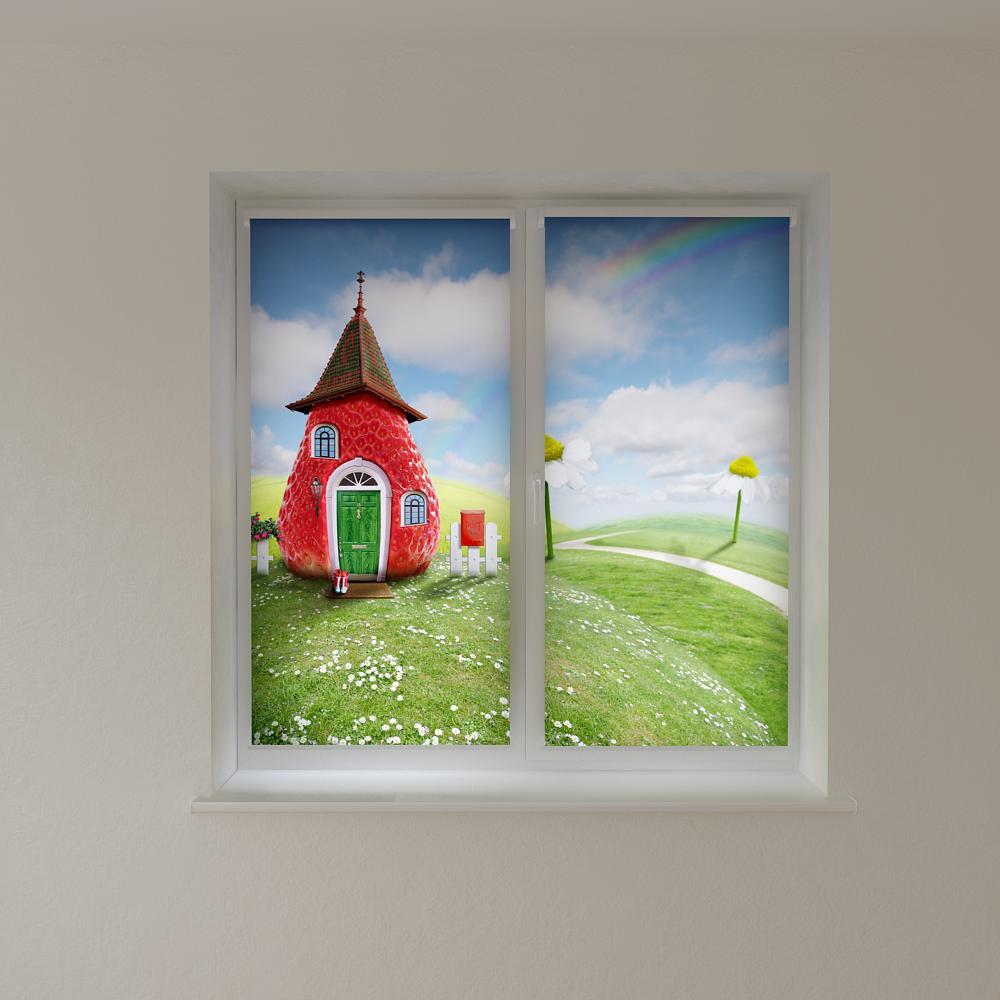 Рулонні штори в дитячу полуничний будинок