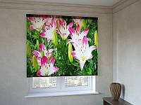 Рулонные шторы с фотопечатью красивые цветы