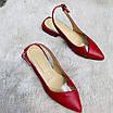 Босоножки женские кожаные красные с силиконовой вставкой, фото 2