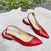 Босоножки женские кожаные красные с силиконовой вставкой, фото 3