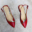 Босоножки женские кожаные красные с силиконовой вставкой, фото 4