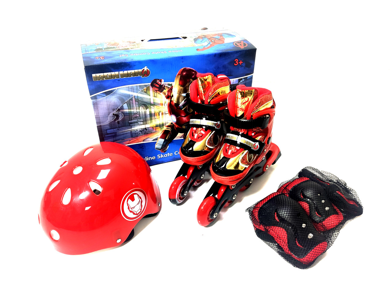 Детские ролики комплект с защитой размер 26-29 и 30-33 и 34-37 Мультяшные герои Красный цвет