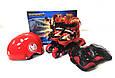 Детские ролики комплект с защитой размер 26-29 и 30-33 и 34-37 Мультяшные герои Красный цвет, фото 2