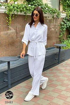 Легкий женский костюм из рубашки с поясом и брюк-палаццо с 42 по 52 размер