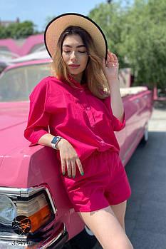 Легкий коттоновый комплект из рубашки и шорт с 42 по 48 размер