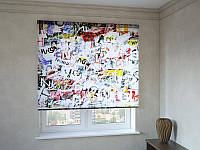 Рулонные шторы с фотопечатью абстракция букв