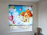 Рулонные шторы с фотопечатью домик в облаках