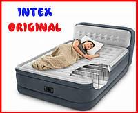 Надувне ліжко двоспальне з підголовником Intex 64448 з вбудованим електронасосом (152*236*86 см)