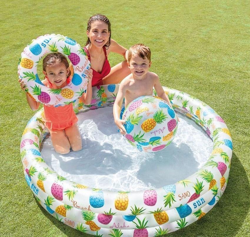 """Надувний басейн для дітей """"Ананаси"""" з м'ячем і кругом, Intex"""