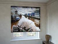 Рулонные шторы с фотопечатью старый причал