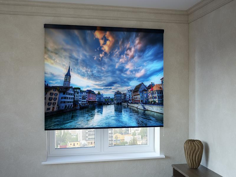 Рулонні штори з фотодруком місто на воді