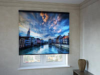 Рулонные шторы с фотопечатью город на воде